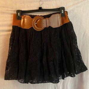 Black Lace Skirt with Belt